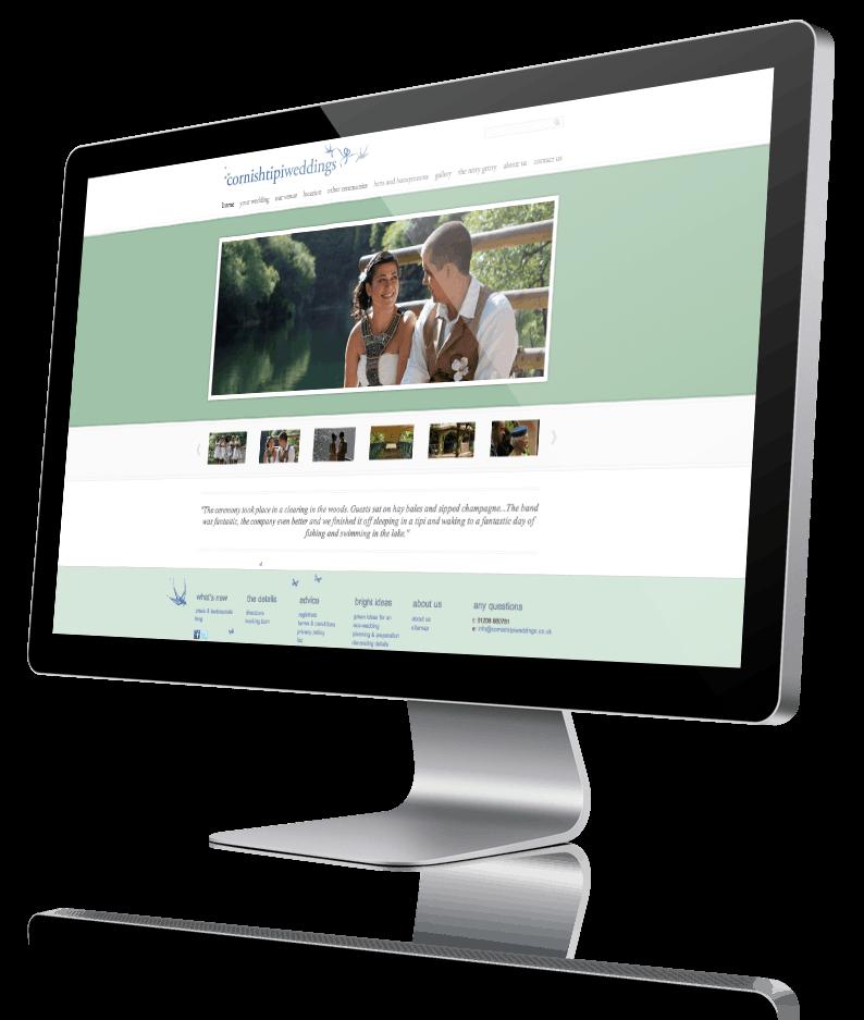 Screenshot of the Cornish Tipi Weddings website
